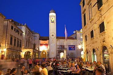 Restaurants, Clock Tower and Stradun, Dubrovnik, Croatia, Europe