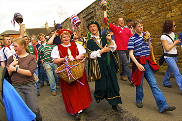 Leaders and participants of the Procession for the Old Annual Custom of Bottle-kicking, Hallaton, Leicestershire, England, United Kingdom, Europe