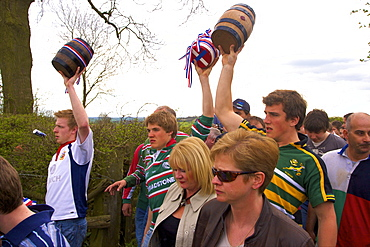 Participants of the Procession for the Old Annual Custom of Bottle-kicking, Hallaton, Leicestershire, England, United Kingdom, Europe