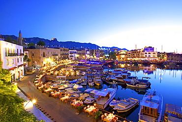 Kyrenia Harbour at dusk, Kyrenia, North Cyprus, Cyprus, Mediterranean, Europe