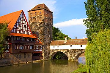 The Wine Store and Hangman's Bridge on the Pegnitz River, Nuremberg, Bavaria, Germany, Europe