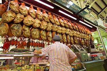 Mercado Central (Central Market) stall selling cured ham, Valencia, Spain, Europe