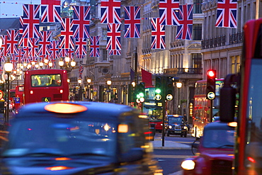 Regent Street with Union Jack Flags, London, England, United Kingdom, Europe
