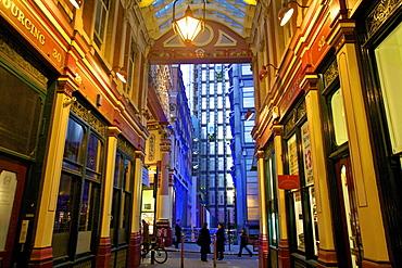 Leadenhall Market and Lloyds Building, London, United Kingdom, Europe