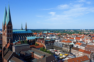 View on townhall, St. Marien church and market square, Lubeck, Schleswig-Holstein, Germany