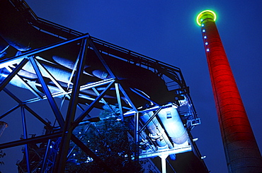 Abandoned industrial facilities at night, Duisburg-Nord Country Park, Duisburg, North Rhine-Westphalia, Germany