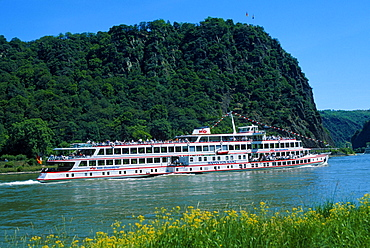 Cruise ship on river Rhine in front of Rock Loreley, Rhineland-Palatinate, Germany