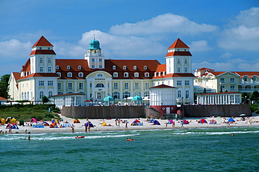 Beach and casino of the health resort Binz, Isle of Ruegen, Mecklenburg-Western Pommerania, Germany