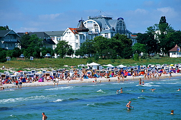 View from the sea bridge to the beach, health resort Binz, Isle of Ruegen, Mecklenburg-Western Pommerania, Germany