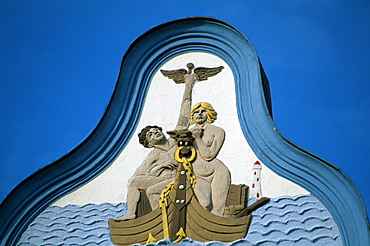Painting on the gable from hotel Germania, Bansin, Isle Usedom, Mecklenburg-Western Pommerania, Germany