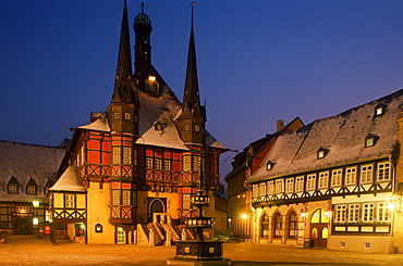 City hall in the evening, Wernigerode, Quedlinburg, Saxony-Anhalt, Germany