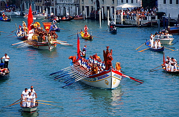 Historical regatta 'Regatta Storica', boats and gondolas on the Grand Canal, Venice, Italy