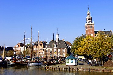 Town hall and ships in harbour, Leer, Lower Saxony, Germany