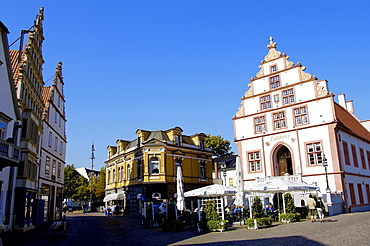 Old town hall and pavement cafe, Bad Salzuflen, North Rhine-Westphalia, Germany