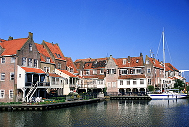 Houses and sailing ship, Enkhuizen, Netherlands