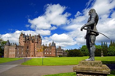 Glamis Castle and monument of Shakespeare, near Glamis, Angus, Scotland
