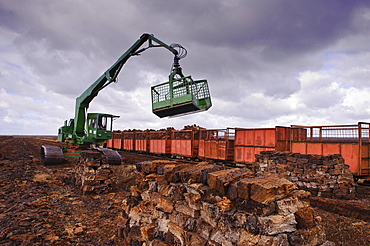 Industrial Peat Cutting, Goldenstedter Moor, Lower Saxony, Germany