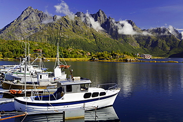 Ships in harbour, near Laupstad, Lofotes, Norway