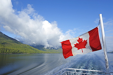 Canadian flag, Inside Passage, British Columbia, Canada