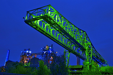 Light show of Jonathan Park, abandoned industrial facilitie, Country Park Duisburg-North, former Meidericher Eisenhutte, Duisburg, Ruhr area, North Rhine-Westphalia, Germany / Meidericher Eisenhutte, Industrial Heritage Trail