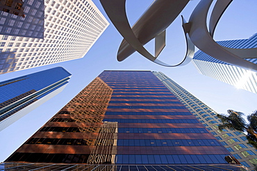 Sculpture Ulysses, by Alexander Libermann, tower buildings, ,worm's-eye view, Downtown Los Angeles, California, USA / L.A.