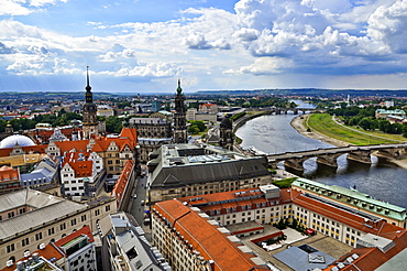 View over city and river Elbe, Dresden, Saxony, Germany