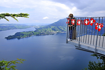 View point, rock path, Hammetschwand Lift, Lake Lucerne, Central Switzerland, Switzerland / Vierwaldstattersee, Vierwaldstättersee, Lake of the Four Forested Cantons, Felsenweg