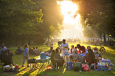 Grilling, barbecueing, barbecue, meadow, Tiergarten, Berlin, Germany