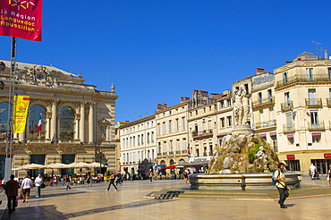 Opera Comedie, opera house, Les trois graces, fountain, Place de la Comedie, Montpellier, Herault, Languedoc-Roussillon, France / Opera national de Montpellier, Fountain of The Three Graces