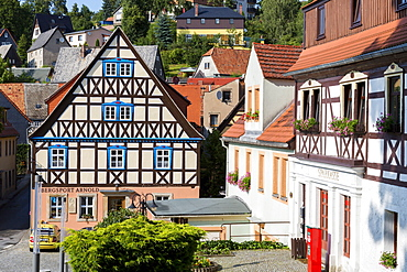 Half-timbered house, Hohnstein, Saxonian Switzerland, Saxony, Germany