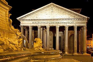 Pantheon, ancient temple, church, night view, Rome, Lazio, Italy