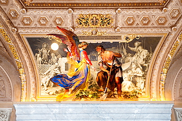 Ceiling painting with angel and farmer, Vatican Museums, Vatican city, Rome, Latium, Lazio, Italy, Europe / Vatican museums