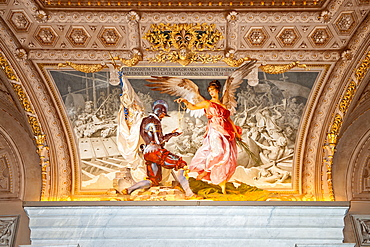 Ceiling painting with angel and officer in arms, Vatican Museums, Vatican city, Rome, Latium, Lazio, Italy, Europe / Vatican museums