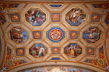 Ceiling painting with papal coat of arms of Pius IX, Holy Virgin Maria, Vatican Museums, Vatican city, Rome, Latium, Lazio, Italy, Europe / Vatican museums