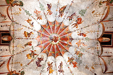 Ceiling painting with angel, Vatican Museums, Vatican city, Rome, Lazio, Latium, Italy, Europe / Vatican museums