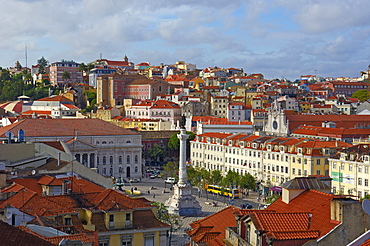 Lisbon, General view and Rossio square, Portugal, Europe
