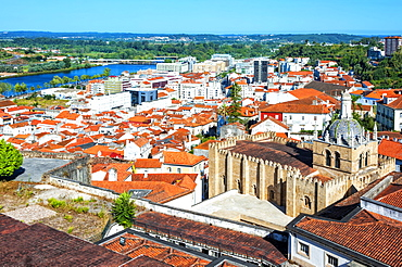 View over the Cathedral Se Velha and old city, Coimbra, Beira Province, Portugal, Unesco World Heritage Site