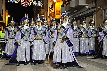 Parade with costumes at the festival Fiesta Moros y Cristianos, Christians and Moors, Altea, Costa Blanca, Alicante province, Spain, Europe