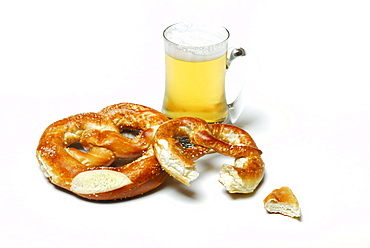 Pretzel and glass of beer