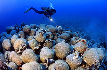 diver with amphoras, mediterranean, Rome, Italy, Europe