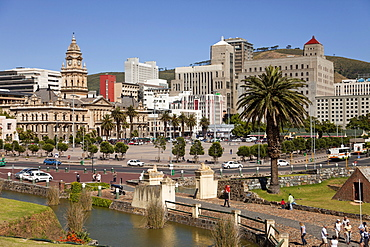 Cityscape with Castle of Good Hope moat and the City Hall, Cape Town, Western Cape, South Africa
