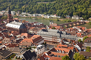 view over old town and Neckar river, Heidelberg, Baden-Wuerttemberg, Germany