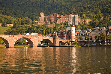 Heidelberg Castle, Old Bridge and Neckar river, Heidelberg, Baden-Wuerttemberg, Germany
