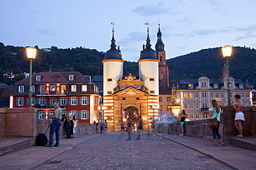Old Bridge gate and old town, Heidelberg, Baden-Wuerttemberg, Germany