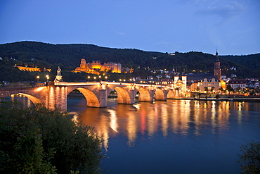 Heidelberg Castle, Old Bridge and Neckar river, Heidelberg at night, Baden-Wuerttemberg, Germany