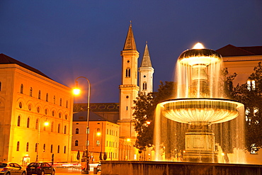 fountain, in front of univerity and church St Ludwig, Munich, Bavaria, Germany