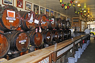 Antigua Casa de Guardia tavern, wine barrels, Malaga, Costa del Sol, Province of Malaga, Andalusia, Spain, Europe
