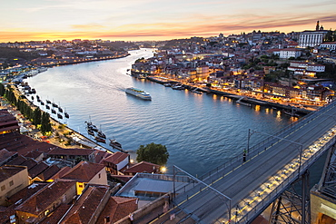 Douro river and Ribeira at sunset, Oporto, Portugal