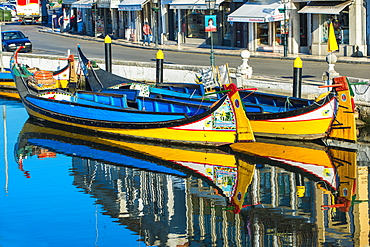 Gondola like Moliceiros boats anchored along the Central Channel, Aveiro, Beira, Portugal