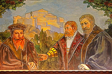 Melanchthon House, humanists room, wall painting, Bretten, Kraichgau, district of Karlsruhe, Baden-Wurttemberg, Germany